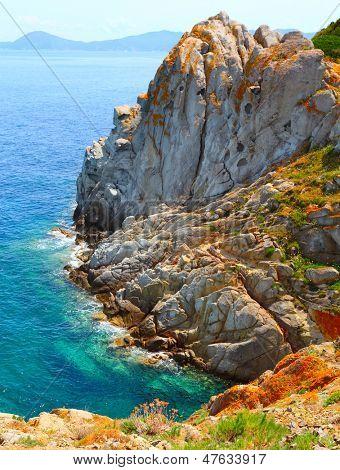 Cliffs on The Enfola Peninsula. The Elba Island, Italy, Europe.