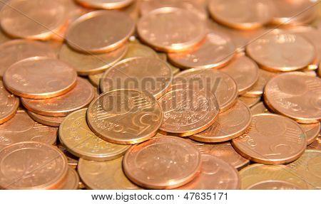 Pila de la moneda de céntimos de euro