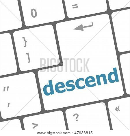 Descend Button On Computer Pc Keyboard Key