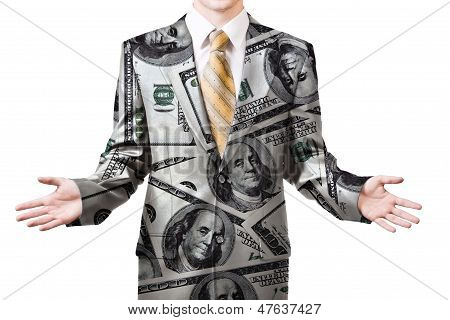 Businessman In Dollar Suit