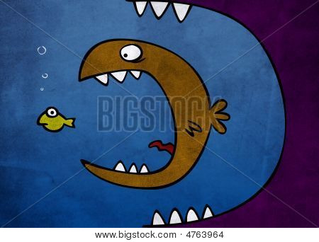 Big Fish Eat Little On A Blue Background