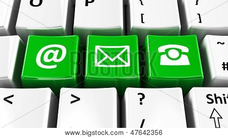 Computer Keyboard Green Contact