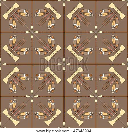 Seamless Pattern With Tomahawks And Spears