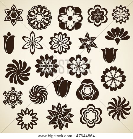 Vintage flower buds vector design elements isolated on white background.  Set 2.