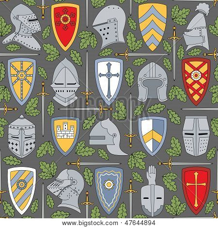 Seamless Pattern With Knightly Helmets And Shields