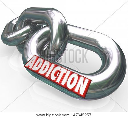 The word Addiction on chain links to illustrate the obsession, craving and affliction of the habits of drug, alcohol, or other substance abuse
