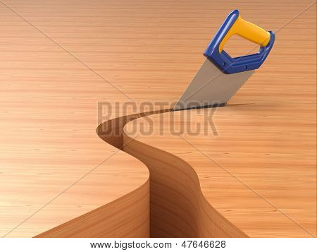 Sawing. Handsaw on wood background. Three-dimensional image