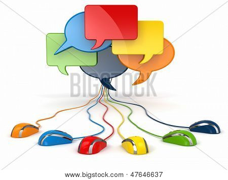 Concept of social network. Forum or chat bubble speech. 3d