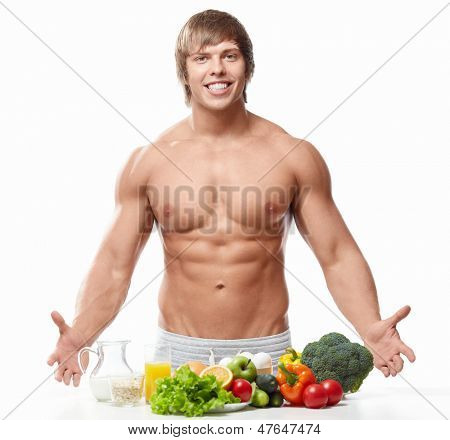 Athletic man with a naked torso on white background