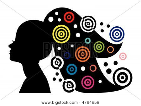 Woman Portrait Silhouette With Long Hair And Abstract Elements