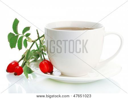 cup of tea with hip roses, isolated on white