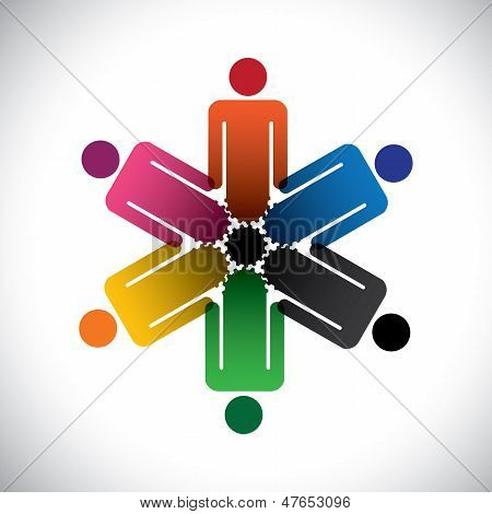 Colorful Abstract People Community As Cog Wheels- Simple Vector Graphic