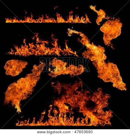 Colección de fuego de alta resolución aislada sobre fondo negro