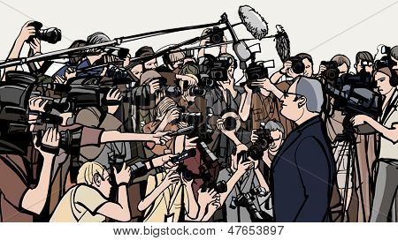 Vector illustration of a press conference