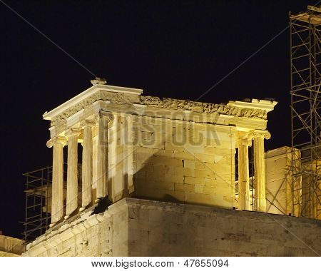 Athena Nike temple illuminated, Athens Greece