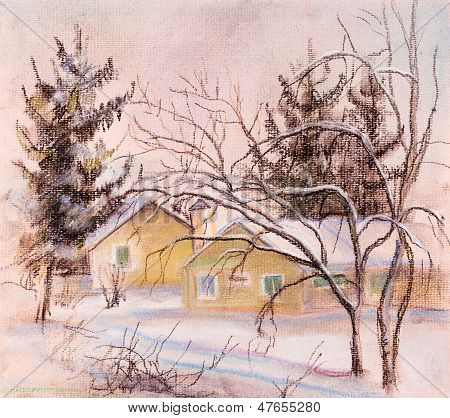 House And  Fur-trees