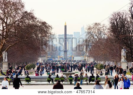 View Of Obelisk And Triumphal Arch From Tuileries Garden, Paris