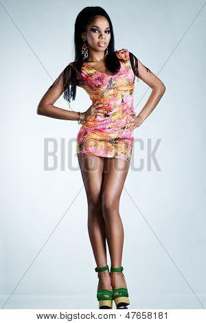 Elegant mulatto girl with long hair