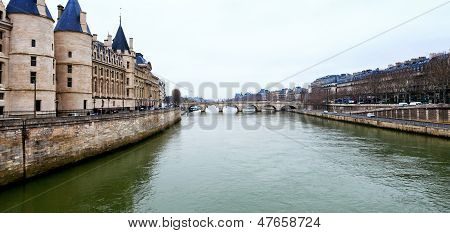 Panorama Of Seine River In Paris