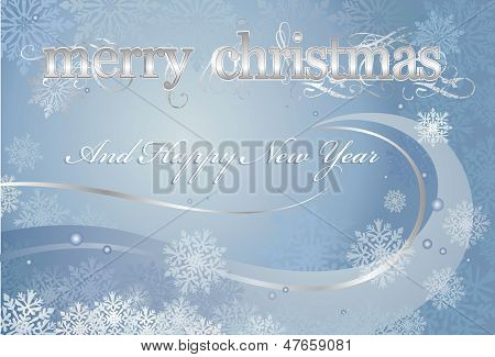 Blue and silver Christmas Card Background With Snowflakes
