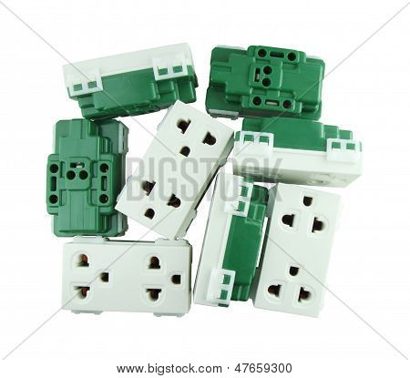 Electrical Outlet (socket Plug) On White Background