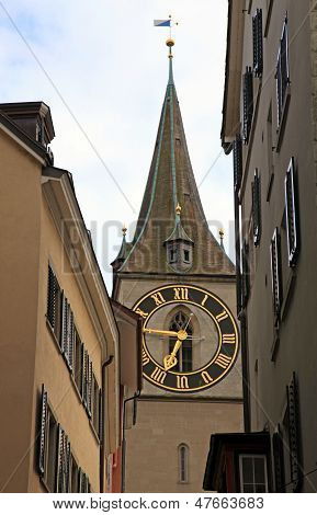 Clock Tower Of St. Peter's Church, Zurich, Switzerland