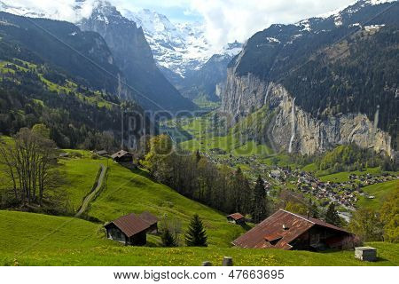 Mountain Village In The Alps, Switzerland .