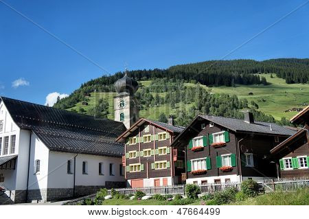 Mountain village in Switzerland