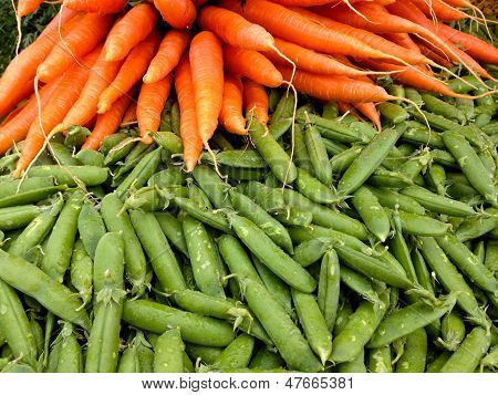 Close-up Carrots and pea pods