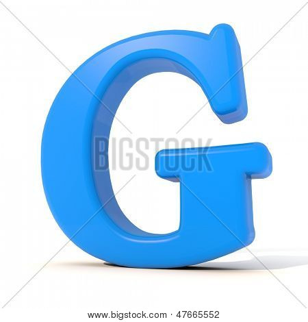 3D alphabet, letter G isolated on white background