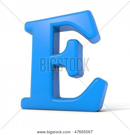3D alphabet, letter E isolated on white background