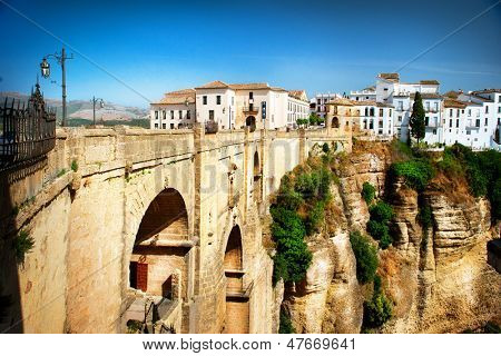 Ronda, Spain. Panoramic view of the old city of Ronda, the famous white village and the New Bridge. Province of Malaga, Andalusia, Spain