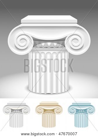 Isolated raster version of vector image of the capitals of ancient columns in different color spectrum