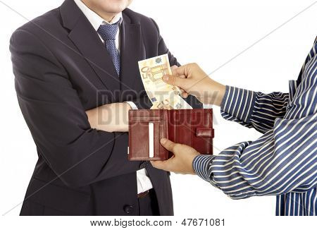 Giving a bribe. Euro banknotes. White background