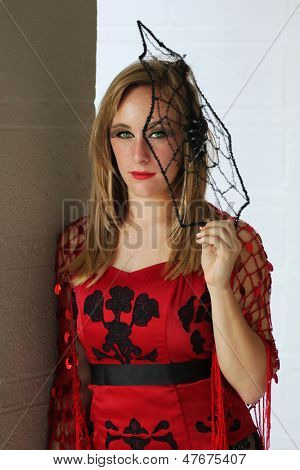 A woman with spider web