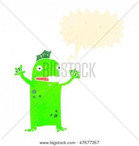 retro cartoon swamp monster with speech bubble