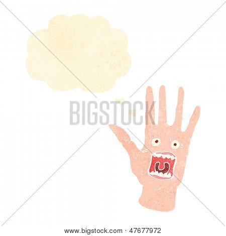 retro cartoon screaming hand