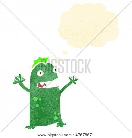 retro cartoon little swamp monster