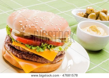 Cheeseburger on a plate VI