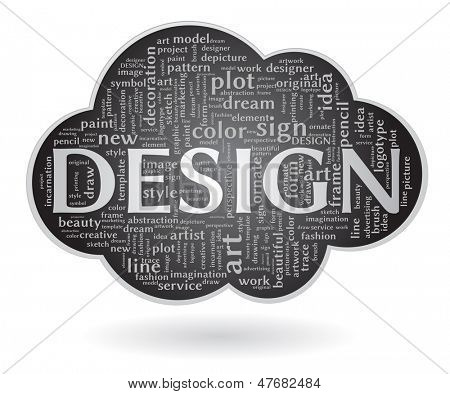 cloud shape with design word