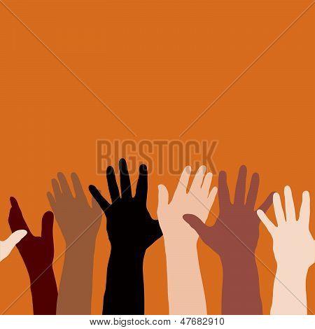 Hands raised (horizontally seamless)