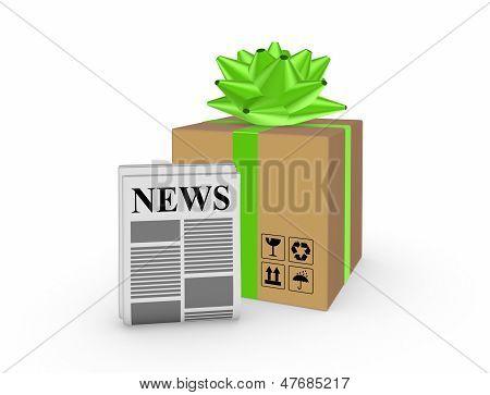 Karton und Zeitung.