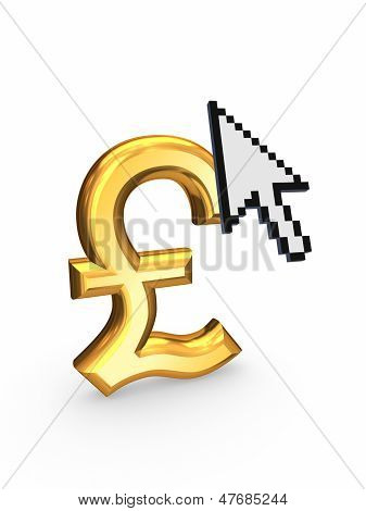 Cursor and sign of  pound sterling.