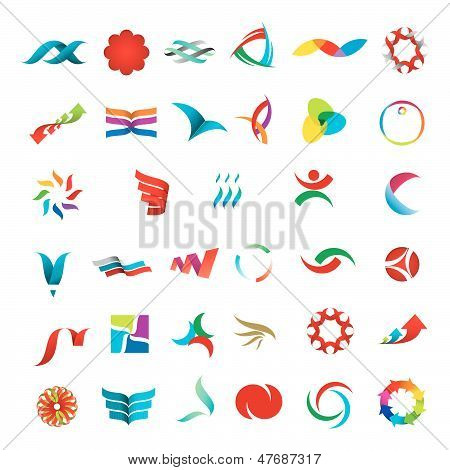 versatile collection of various color stylized abstract icons