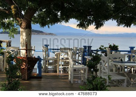 Greek tavern on the coast of Aegean Sea