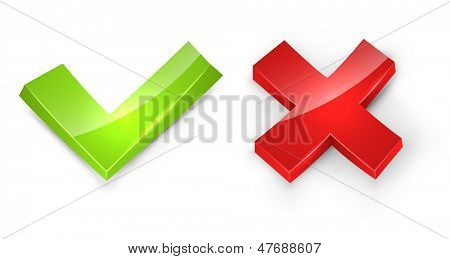 Concaved 3D tick and cross signs isolated on white background.