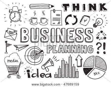 Planejamento de negócios Doodles elementos