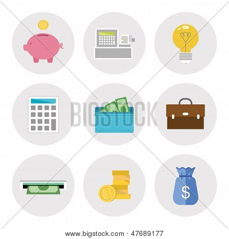 Finance Icons In Flat Design