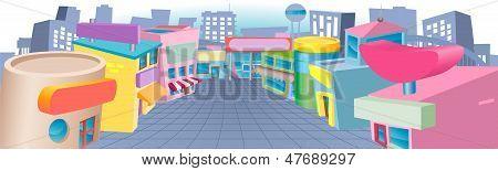 Rua dos desenhos animados de lojas
