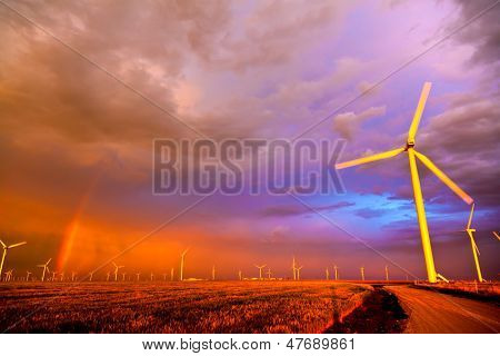Windfarm at the sunset